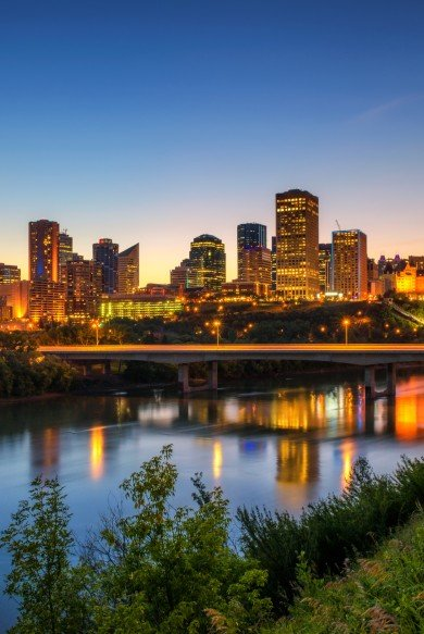 River at night in Edmonton